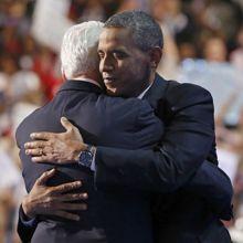 Après le discours de Bill Clinton, Barack Obama l'a rejoint sur scène.