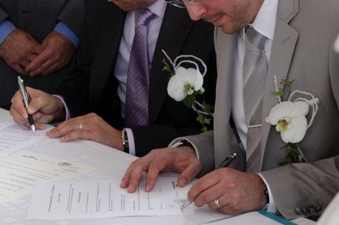 Célébration symbolique d'un mariage gay à Wittenheim, en Alsace, en janvier 2012.