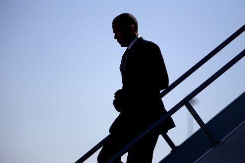 Barack Obama, mercredi, descendant d'<i> </i>Air Force One<i></i>.