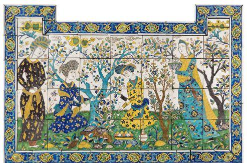 Panneau de revêtement mural (céramique, Iran, XVIIe siècle).