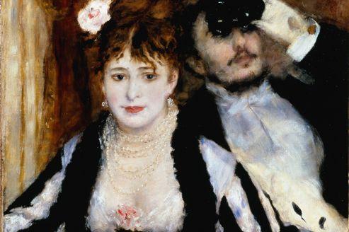 Plus qu'une description de la toilette,<i> La Loge </i>(1874) est pour Renoir l'occasion de saisir, à la manière d'un instantané, un couple dans ses gestes quotidiens.