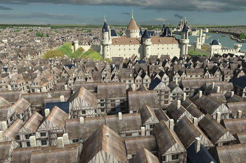 <strong>LE LOUVRE </strong><br/><br/><br/>A partir du XIVe siècle, l'extension des quartiers replace le Louvre à l'intérieur de la ville. Sous Charles V, une nouvelle enceinte plus large est construite et l'édifice abandonne son rôle défensif pour profiter de nombreux embellissements, gommant peu à peu la rusticité militaire: ouvertures de fenêtres dans la muraille du donjon, toits d'ardoises ouvragés, ornementations diverses, jardin à l'ouest…