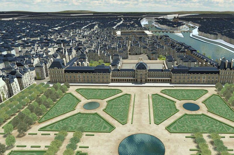 <strong>LE LOUVRE</strong><br/>Les agrandissements se poursuivent sous le règne des Bourbons, d'Henri IV à Louis XVI, pour célébrer et affirmer dans la grandeur l'autorité absolue du roi. C'est l'expropriation des quartiers entre le palais du Louvre et celui des Tuileries, la mise en chantier de la Grande Galerie, de la Cour carrée, le prolongement des Tuileries et leur fameux jardin redessiné par Le Nôtre. Une somme de grands desseins achevés sous le règne de Napoléon III de 1852 à 1870 (l'image illustre la physionomie du Louvre sous Napoléon 1er vers 1810).