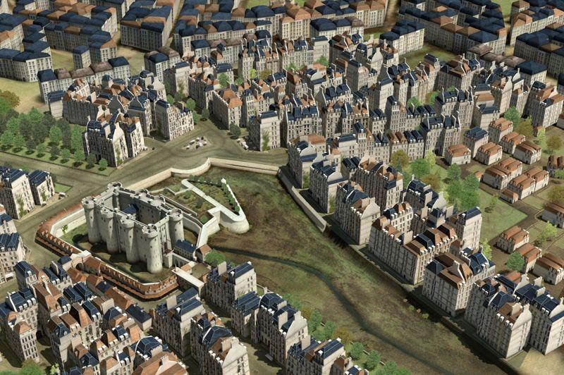 <strong>LA BASTILLE</strong><br/>Pour défendre la ville contre d'éventuels envahisseurs venant de l'est, Charles V transforme la porte Saint-Antoine en une forteresse appelée la Bastille (de 1370 à 1383). En fait, elle sert surtout de refuge pour le roi, qui peut ainsi quitter Paris en toute sécurité pour rejoindre son château de Vincennes en cas de révolte parisienne. Sur l'illustration, on observe encore la présence de l'enceinte de Charles V, mais, débordée par la ville, la Bastille abandonne rapidement son rôle défensif.Transformée en prison par Richelieu, elle ne peut accueillir plus de 45 prisonniers à la fois, dont certains hôtes illustres tels que le marquis de Sade ou Voltaire.En 1789, elle ne compte plus que 7 prisonniers, mais elle symbolise encore l'arbitraire de la monarchie absolue: on y est enfermé sans jugement sur simple lettre de cachet signée du roi. De plus, elle sert également de dépôt d'armes et de poudre. Une mine d'or pour les émeutiers qui la prennent d'assaut le 14 juillet 1789. Protégée par quelques sous-officiers invalides, elle ne tardepas à tomber. Dès le lendemain, un entrepreneur privé se charge de la démolir, recyclant ses pierres pour le pont de la Concorde et pour vendre des souvenirs patriotiques en forme de Bastille miniature.