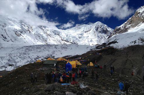 Le camp de Gorkha où les alpinistes ont été secourus.