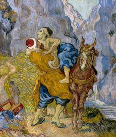 Van Gogh avait toujours aimé s'inspirer des maîtres anciens, surtout Delacroix, dont il copie ici  Le Bon Samaritain .