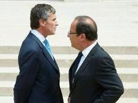 Jérôme Cahuzac et François Hollande à l'issue du conseil des ministres du 4 juillet dernier.