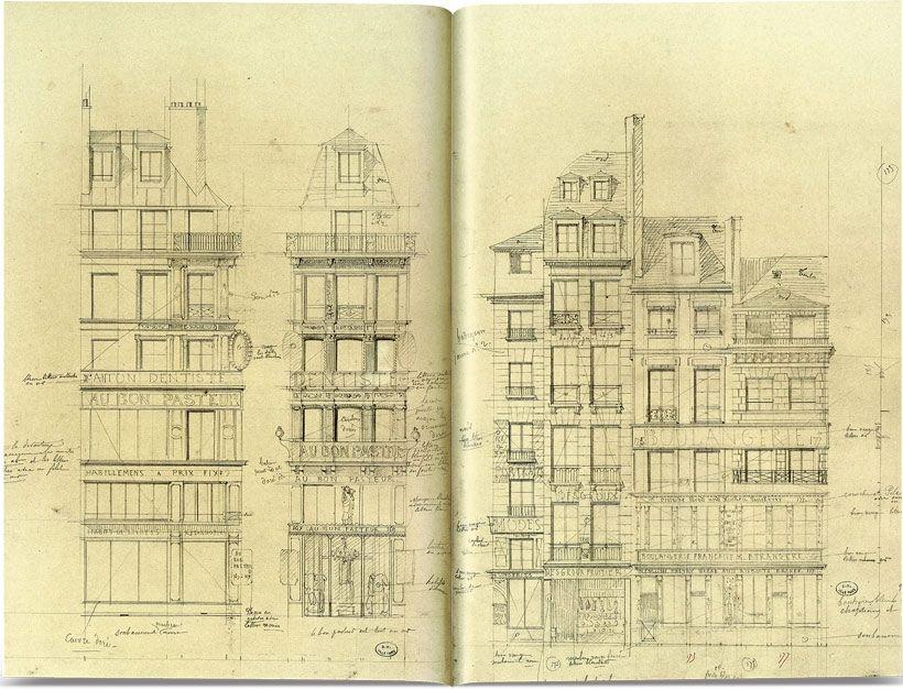Près d'un millier d'édifices ont été répertoriés puis minutieusement dessinés. Ici des immeubles situés entre le 167 et le 175 de la rue Saint-Honoré.