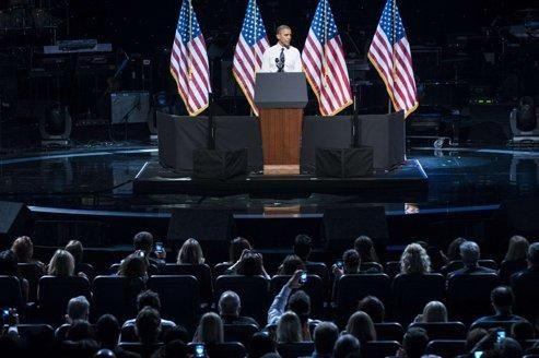 Obama, dimanche soir, au Nokia Theatre, à Hollywood.