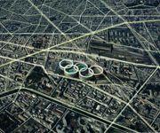 Le plan futuriste de l'atelier WRA marque la capitale d'un sceau olympique visible depuis la Lune.