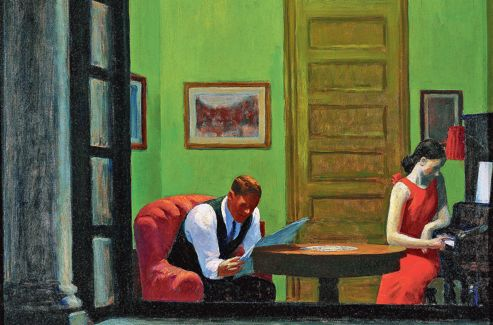 Edward Hopper:  Room in New York  , 1932.