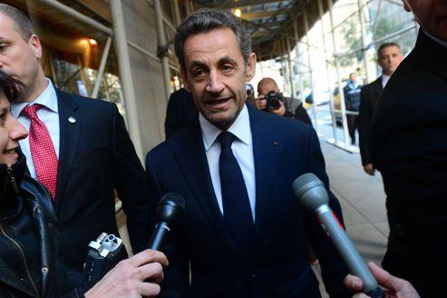 Nicolas Sarkozy, peu avant de donner sa conférence.