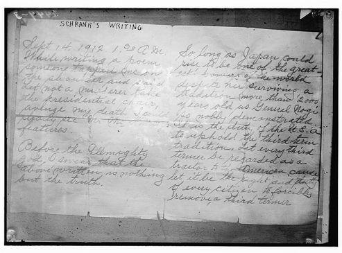 Le coupable, John Schrank, portait sur lui une lettre manuscrite au moment de l'attentat.