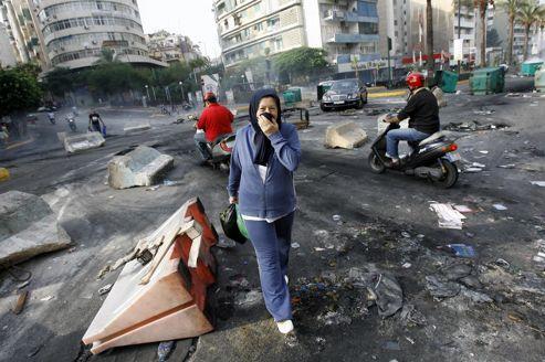 Samedi matin à Beyrouth sur les lieux où vendredi une manifestation s'est tenue après l'attentat qui a coûté la vie à 8 personnes.