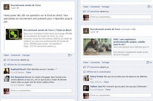 L'armée de terre propose des chats en direct et mise sur le dialogue. Leur page Facebook comporte plus de 270.000 followers.