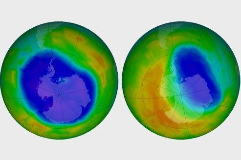Le trou dans la couche d'ozone de l'hiver austral 2012 a atteint sa taille maximale le 22 septembre (à gauche) et est désormais en train de se résorber (21 octobre à droite).
