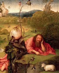 Méditation de saint Jean Baptiste  de Jérôme Bosch, une des merveilles de l'exposition Fables des paysages flamands au Palais des beaux arts de Lille.