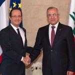 François Hollande et Michel Sleimane, dimanche à Beyrouth.