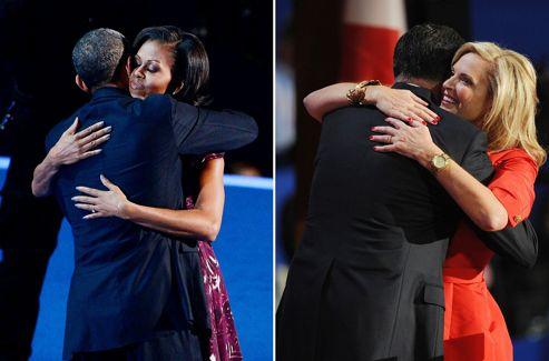 Barack Obama et son épouse, Michelle, lors de la convention démocrate à Charlotte (Caroline du Nord), le 6 septembre. Mitt Romney avec Ann, lors de la convention républicaine à Tampa (Floride), le 28 août.