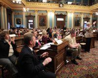 Les 17 grands électeurs démocrates du Michigan en décembre 2008 après avoir voté pour Barack Obama.