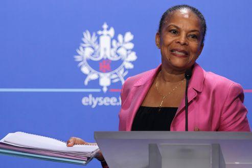 Christiane Taubira, mercredi, lors d'un point presse à l'Élysée sur le projet de loi adopté en Conseil des ministres.