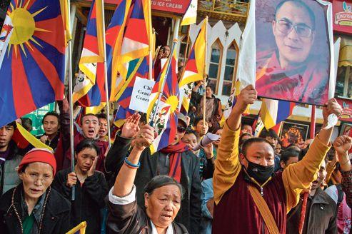 Jeudi dernier à Dharamsala, en Inde, des Tibétains en exil manifestent leur soutien aux moines qui se sont récemment immolés pour protester contre la domination chinoise.