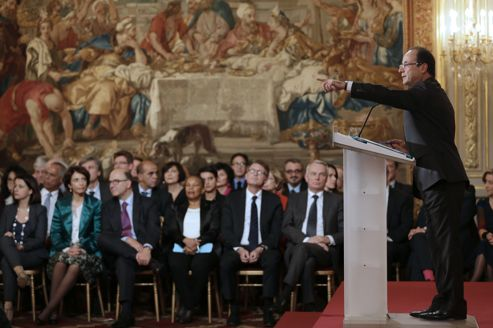François Hollande pendant sa conférence de presse à l'Élysée.