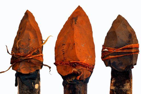 Les pointes en pierre étaient fixées à l'extrémité de manches de bois avec des tendons d'animaux et de la gomme d'acacia. (Photo Jayne Wilkins)