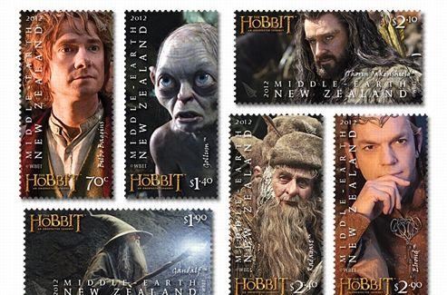 Les timbres à l'effigie des personnages de  The Hobbit .