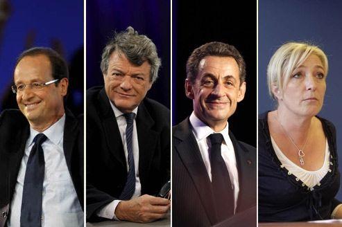 François Hollande, Jean-Louis Borloo, Nicolas Sarkozy et Marine Le Pen.