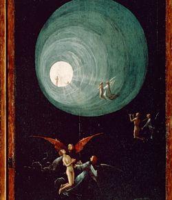 Un détail bouleversant de  l'Ascension vers l'Empyrée  de Jerome Bosch  , très proche du tunnel de lumière qu'évoquent les personnes revenant à la vie.