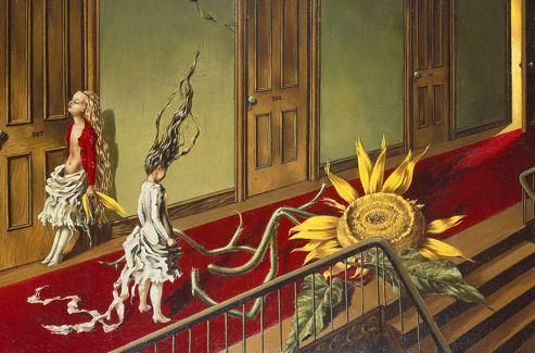 Dans  Une petite musique de nuit , Dorothea Tanning représente des femmes qui semblent attendre la promesse d'une autre vie.