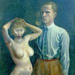 Autoportrait avec modèle , Otto Dix, 1923