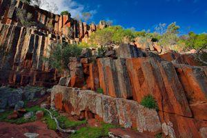 Les orgues monumentaux de la chaîne de Gawler offrent un spectacle saisissant dans la lumière du petit matin. Les origines volcaniques de ces étonnantes formations de rhyolite remonteraient à plus de 1500 millions d'années!
