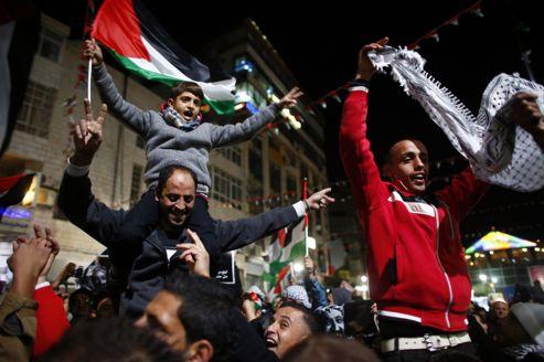 Le vote à l'ONU a provoqué des manifestations de joie en Palestine, comme ici à Ramallah.