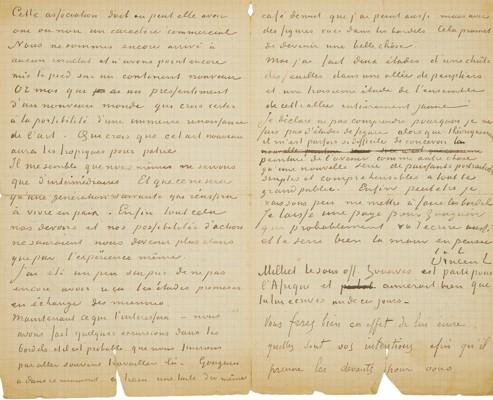 Lettre écrite par Van Gogh et Gauguin le 1er ou le 2novembre 1888, à Émile Bernard, pour défendre la peinture moderne. Elle est estimée 350000 à 500000 euros.