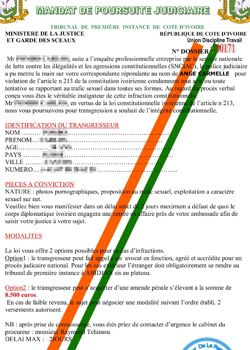Exemple de faux document envoyé pour faire chanter un «mougou»