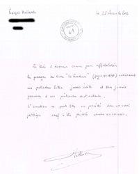 La lettre de François Hollande.