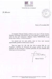 La lettre de Manuel Valls.