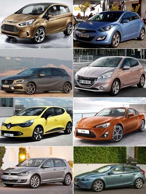 De haut en bas, de gauche à droite: Ford B-Max, Hyundai i30, Mercedes Classe A, Peugeot 208, Renault Clio, Subaru BRZ/Toyota GT86, Volkswagen Golf 7 et Volvo V40. (DR)
