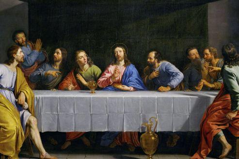 «<i>La Petite Cène</i>» par Philippe de Champaigne. Ce dîner nocturne (du latin «cena») est le dernier repas pris par Jésus avec ses douze disciples avant la Pâque.