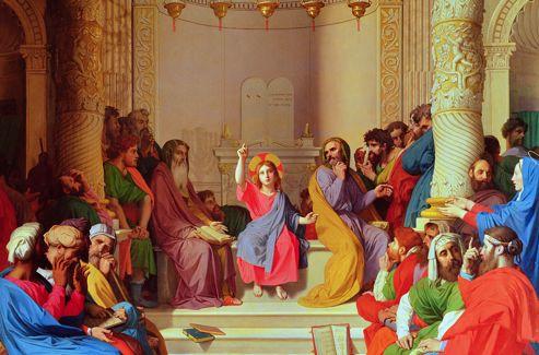 «Jésus parmi les docteurs », par Ingres. Un épisode rapporté par Saint Luc: Jésus a 12 ans quand ses parents le retrouvent prêchant dans le temple de Jérusalem.
