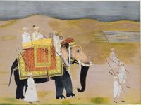 L'Empereur moghol Muhammad Shah voyageant à dos d'éléphant , Inde, vers 1750