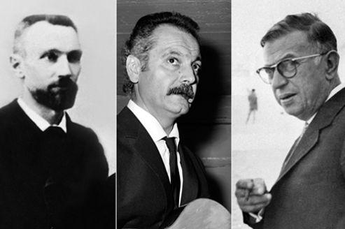 Pierre Currie, Georges Brassens et Jean-Paul Sartre.
