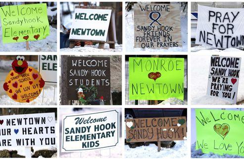 Sur la route menant à la nouvelle école de nombreux panneaux de soutien sont apparus.