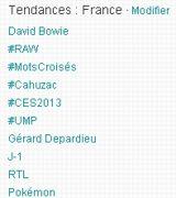 Les trendings topics du 8 janvier vers 13 heures.