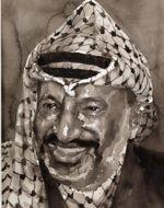 Yasser Arafat, fondateur de l'Autorité palestinienne . Yan Pei-Ming, ADAGP, Paris, 2012