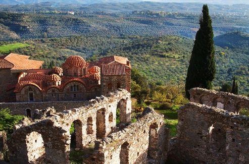 L'ancienne ville de Mystra près de Sparte, Laconie, Grèce.