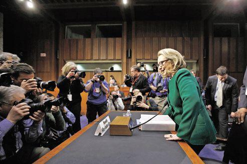 La secrétaire d'État américaine, Hillary Clinton, hier lors de son audition par le comité sénatorial des relations extérieures.