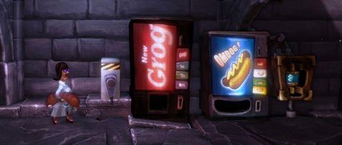Les saucisses géantes et distributeurs de grogs, des éléments presque banals dans l'univers décalé de  The Cave .